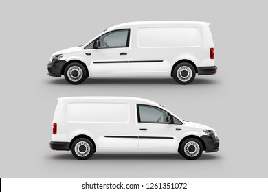 White Panel Van Vehicle Left and Right view. 3D rendering