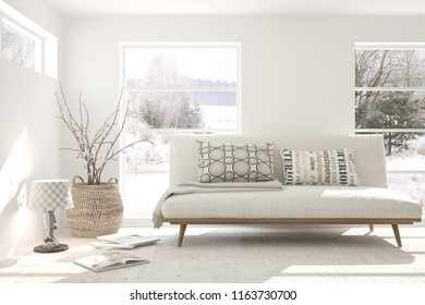 White panoramic room with sofa and winter landscape in window. Scandinavian interior design. 3D illustration