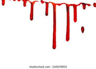 A white paper background with stains of red paint in the form of blood at the top of the image. Abstract illustration and empty background for text, greeting card, print and label.