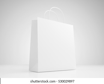 White paper bag with handles. 3D Render