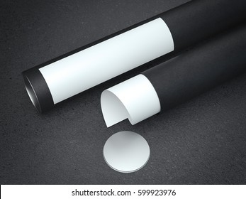 White paper in black cardboard tube. 3d rendering