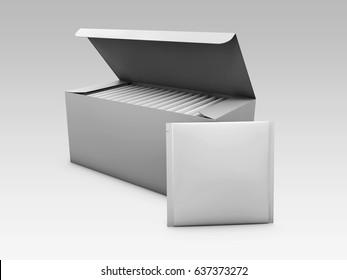 White paper box packaging for tea and tea bag, 3d illustration