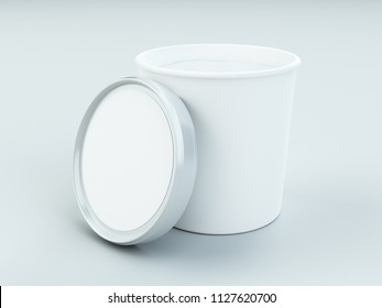 white paper canister with silver lid for ice cream and yogurt mockup 3d Illustration