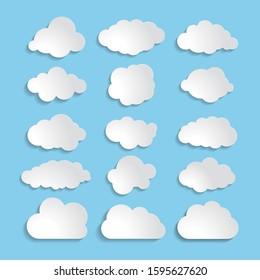 white paper cloud message sign set.  illustration for weather forecast