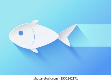 White paper cut relief and shadowed fingerling minimalistic raster illustration. Fish bellied icon on gradient blue background with bluish track.