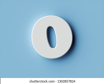 White paper digit alphabet character 0 zero font. Front view null symbol on a blue background. 3d rendering illustration