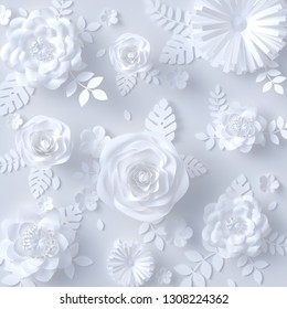 White Paper floral background, artificial papercraft flowers pattern . 3d rendering