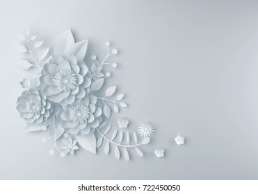 White Paper Flower Wallpaper Background Abstract Floral Design For Wedding And Greeting Card