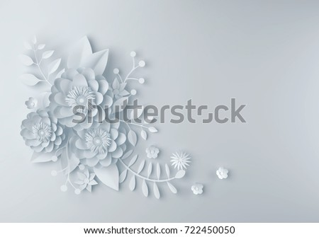 white paper flower wallpaper background abstractのイラスト素材