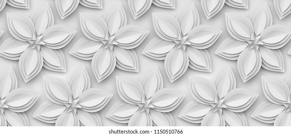 White paper flowers 3d background. Elegant and delicate high quality seamless texture.