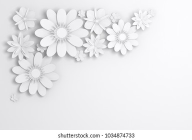 White paper flowers decoration, bridal greeting card, ornamental background. Digital 3d render illustration