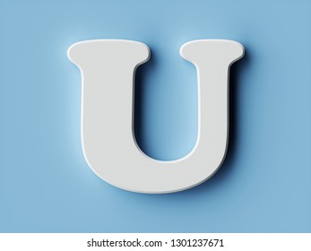 White paper letter alphabet character U font. Front view capital symbol on a blue background. 3d rendering illustration