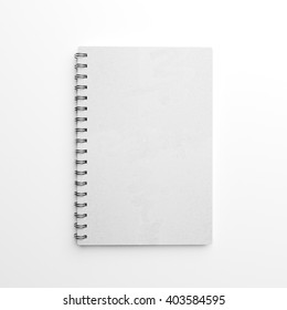 White paper notebook made of craft paper over white background. 3d rendering. Top view