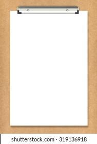 White paper on wooden folder. Blank background