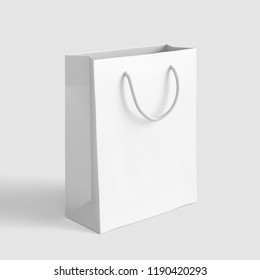 White Paper Shop Bag. 3D rendering