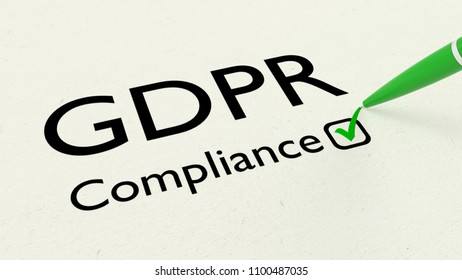 White paper showing the words GDPR compliance and a green pen checking a box 3D illustration