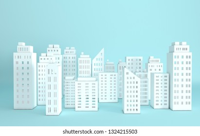 White paper skyscrapers. Achitectural building in panoramic view. Modern city skyline building industrial paper art landscape skyscraper offices. 3d rendering illustration