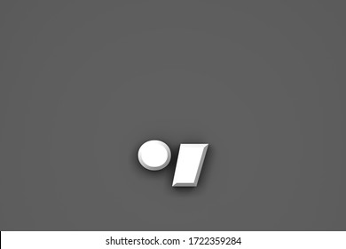 White paper style font - period (full stop) and comma isolated on grey background, 3D illustration of symbols