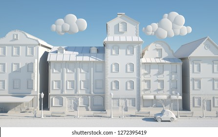 White Paper Style Old town. 3D illustration
