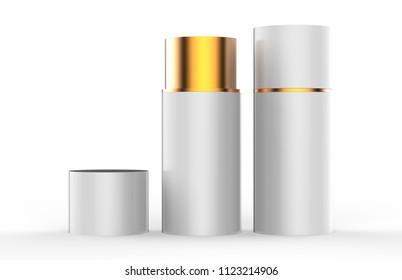 White paper Tube Tin can Mockup, cylindrical Box on white background, 3d illustration