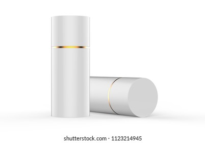 White paper Tube Tin can Mockup, cylindrical Box on white background, 3d illustration