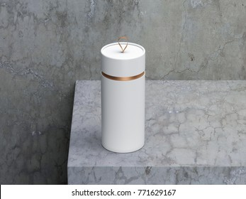 White paper Tube Tin can Mockup, cylindrical Box Packaging with loop, 3d rendering