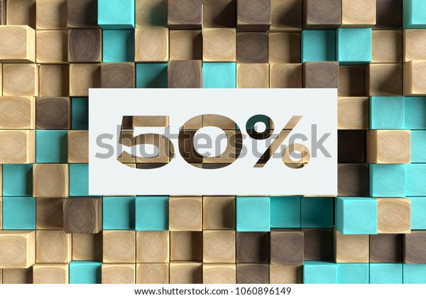White Paper-Cut 50% Symbol on the Wood Pattern With Blue Dots on Background. 3D Illustration of 50% Symbol Sale, Fifty Percent Off Symbol for Wallpapers and Abstract Backgrounds.