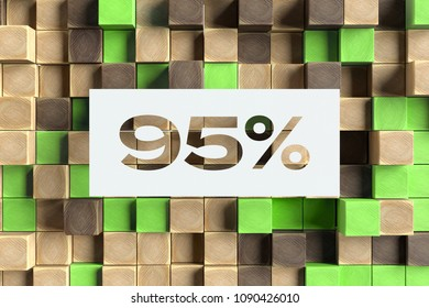 White Paper-Cut 95% Symbol on the Wood Pattern With Green Dots on Background. 3D Illustration of 95% Symbol Sale, Ninety-Nine Percent Off Symbol for Wallpapers and Abstract Backgrounds.