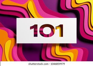 White Paper-Cut Number 101 on the Purple and Yellow Layered Paper Background. 3D Illustration of Number 101 HTTP Status Codes - Switching Protocols for Wallpapers and Digital Backgrounds.