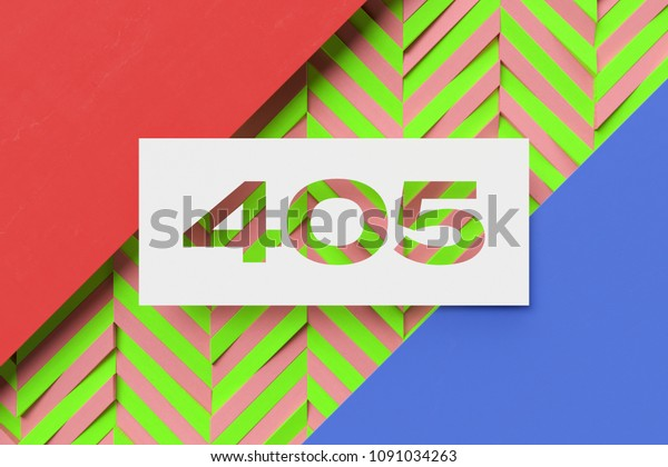 White Papercut Number 405 On Coral Stock Illustration 1091034263
