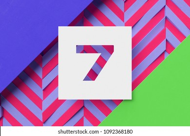 White Paper-Cut Number 7 on Violet and Green Background With Stripes. 3D Illustration of Number 7 Seven Number on Abstract Background.