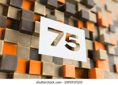 White Papercut Number 75 on the Wood Pattern With Orange Dots on Background. 3D Illustration of Number 75 Seventy-Five for Wallpapers and Nature Backgrounds.