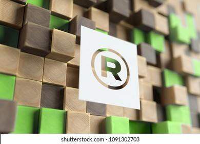 White Papercut ® Sign on the Wood Pattern With Green Dots on Background. 3D Illustration of ® Sign Registered Trademark Symbol for Wallpapers and Nature Backgrounds.