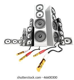 White party soundbox audio collection on white background