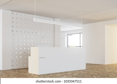 White pattern wall office interior with a wooden floor, a white and wooden reception and an open space area in the background. A side view. 3d rendering mock up