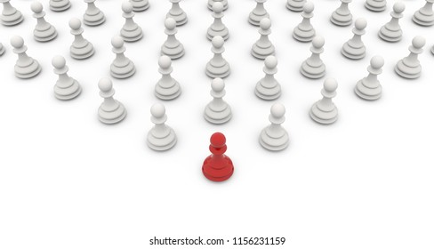 White pawns follow red pawn concept image. Leadership business consept. 3D rendering.