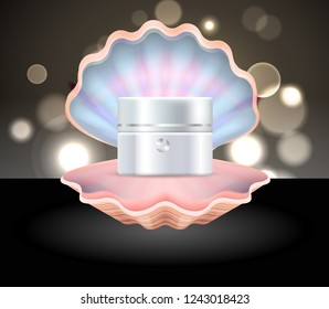 White pearl cream for skin care inside open pink seashell commercial poster realistic raster illustration with glimmers on background.