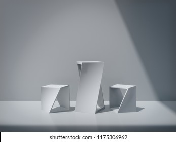 White pedestal for display,Platform for design,Blank product stand,clean background.3D rendering