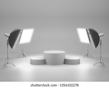 White pedestal for display,Platform for design,Blank product stand with SoftBox Light. 3D rendering