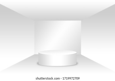 White pedestal in an empty white room, White square room. Display your product. 3D rendering.