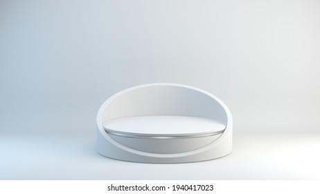 White Pedestal auf weißem Hintergrund, Leere Pedestal Minimalkonzept-Vorlage - 3D-Rendering-Modell nach oben