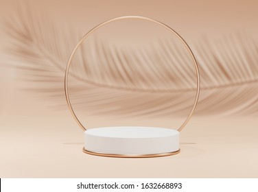 White pedestal with palm tree leaf shadow over beige pastel natural background. Podium display with metal gold round frame ring. Trendy subtle Abstract summer product promotion. Copy space 3d render.