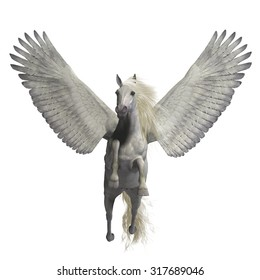 White Pegasus on White - Pegasus is a legendary divine winged stallion and is the best known creature of Greek mythology.