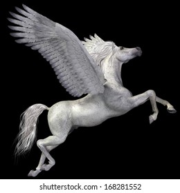 White Pegasus Profile - A magical white Pegasus spreads its wings and flies up into the sky.