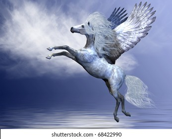 WHITE PEGASUS - White Pegasus spreads his magnificent wings in flight over an ocean.