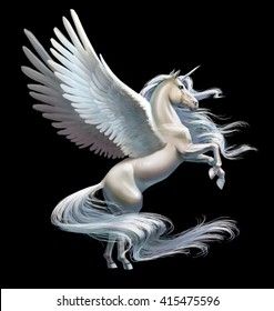 white pegasus stands on its hind legs, isolated on black
