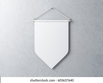 White Pennant hanging on a gray concrete wall, 3d rendering