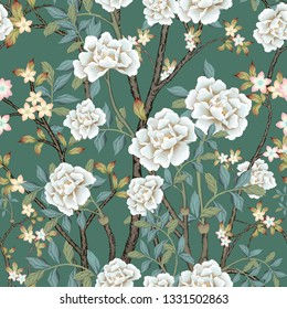 white peonies  seamless pattern for fabrics, paper, wallpaper