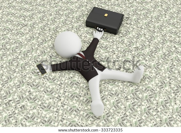 White people lying on the money. 3d image