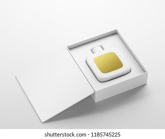 White perfume bottle mockup with gold label into open package box. On white background. 3D render